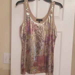 Karen Kane shiny  floral sequin top SZ XL